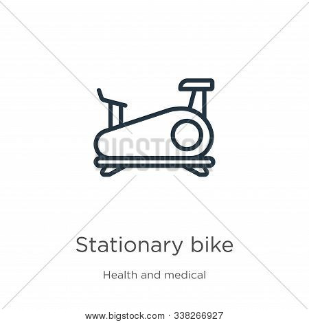 Stationary Bike Icon. Thin Linear Stationary Bike Outline Icon Isolated On White Background From Hea