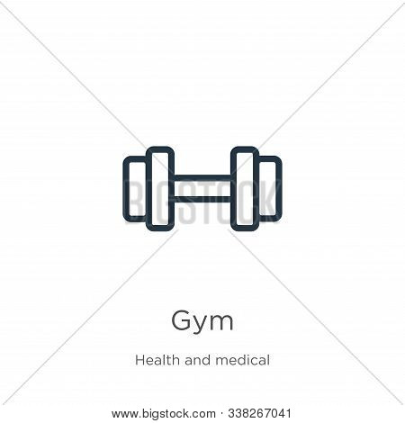 Gym Icon. Thin Linear Gym Outline Icon Isolated On White Background From Health Collection. Line Vec