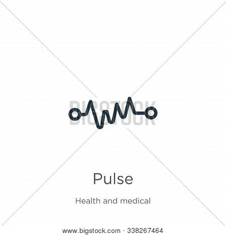 Pulse Icon. Thin Linear Pulse Outline Icon Isolated On White Background From Health Collection. Line