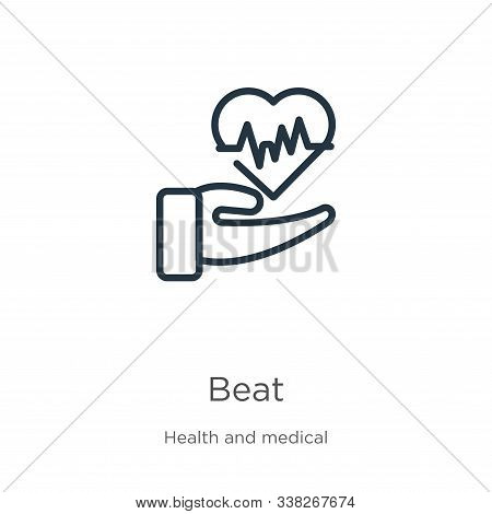 Beat Icon. Thin Linear Beat Outline Icon Isolated On White Background From Health Collection. Line V