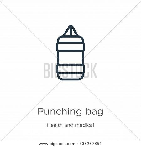 Punching Bag Icon. Thin Linear Punching Bag Outline Icon Isolated On White Background From Health Co