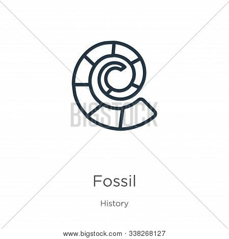 Fossil Icon. Thin Linear Fossil Outline Icon Isolated On White Background From History Collection. L