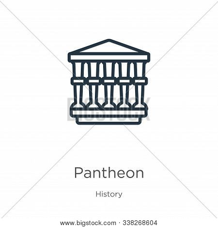 Pantheon Icon. Thin Linear Pantheon Outline Icon Isolated On White Background From History Collectio