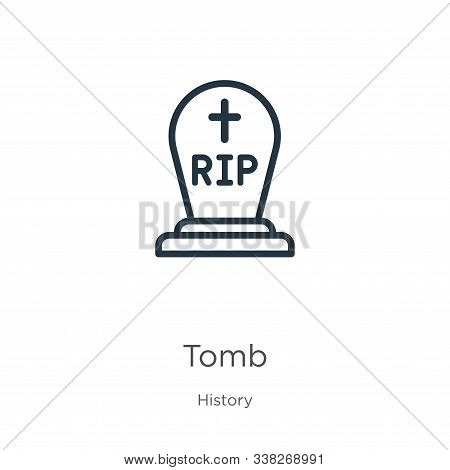 Tomb Icon. Thin Linear Tomb Outline Icon Isolated On White Background From History Collection. Line