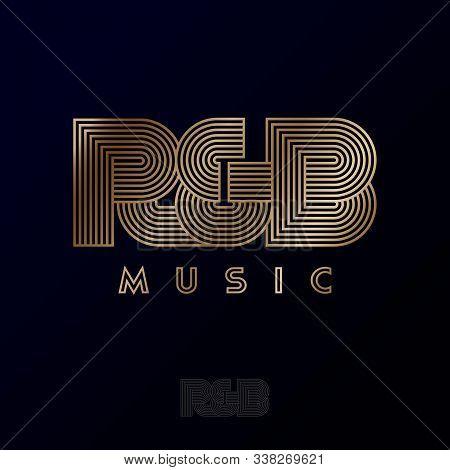 R & B Music Logo. R And B Monogram. Rhythm & Blues Music Emblem. Letters Consist Of Gold Strips, Iso