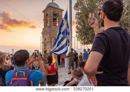 Athens, Greece - September 13, 2018: Military Ceremony For The Lowering Of The Greek Flag At Sunset
