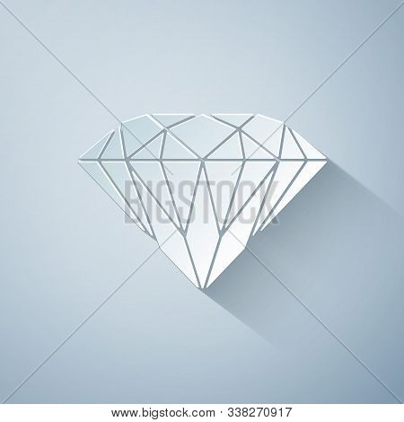 Paper Cut Diamond Icon Isolated On Grey Background. Jewelry Symbol. Gem Stone. Paper Art Style. Vect