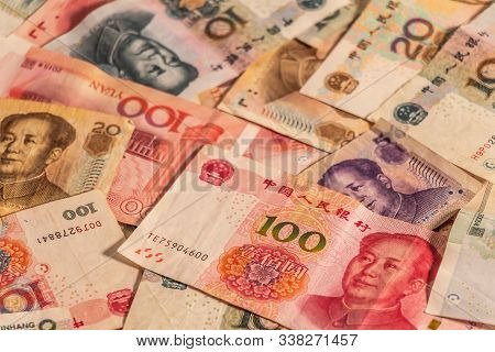 A Composition Of Chinese Renminbi Rmb. Yuan Cny Banknotes Providing Great Options To Be Used For Ill