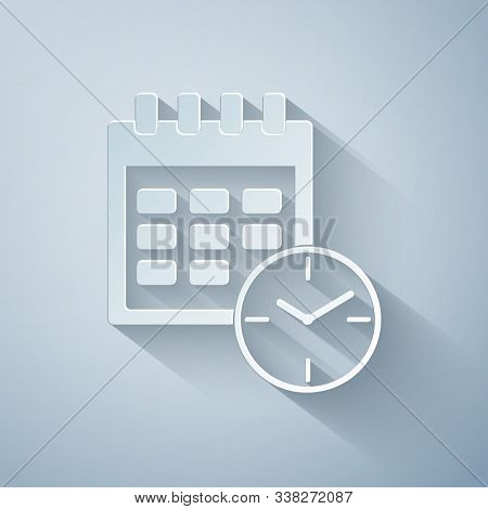 Paper Cut Calendar And Clock Icon Isolated On Grey Background. Schedule, Appointment, Organizer, Tim