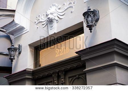 Riga / Latvia - 01 December 2019: 221b Baker Street Building Facade In Riga, Latvia. Sherlock Holmes