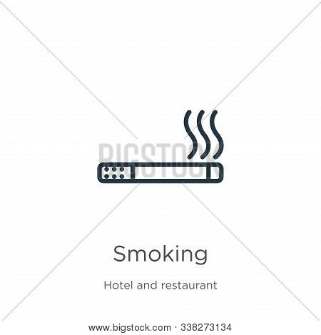 Smoking Icon. Thin Linear Smoking Outline Icon Isolated On White Background From Hotel Collection. L