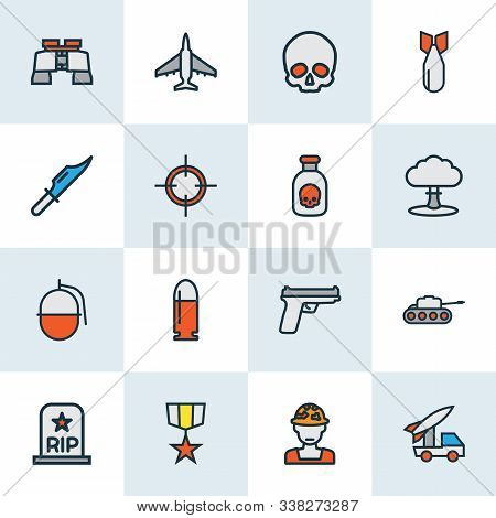 Army Icons Colored Line Set With Nuclear Explosion, Artillery, Binoculars And Other Pistol Elements.
