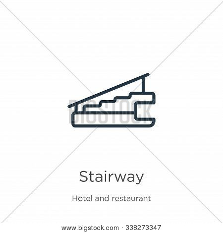 Stairway Icon. Thin Linear Stairway Outline Icon Isolated On White Background From Hotel Collection.