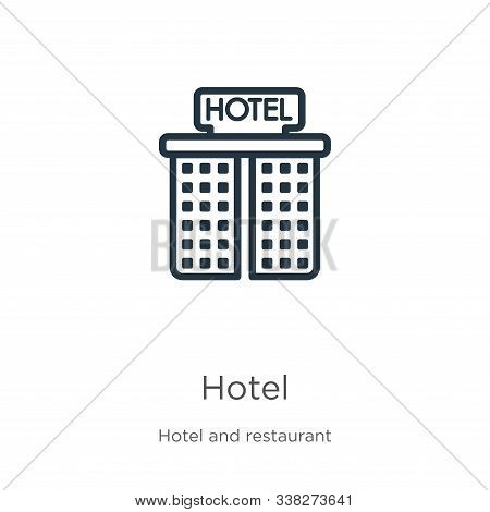 Hotel Icon. Thin Linear Hotel Outline Icon Isolated On White Background From Hotel Collection. Line