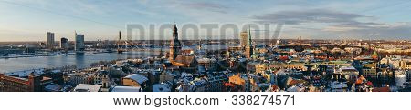 Wide Panorama Of Riga. Aerial View Of Riga Center From St. Peter's Church, Riga, Latvia. Riga Cathed
