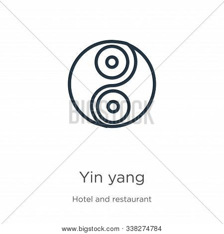 Yin Yang Icon. Thin Linear Yin Yang Outline Icon Isolated On White Background From Accommodation Col