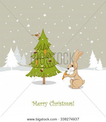Christmas Card With Handwritten Text Merry Christmas, Cute Cartoon Rabbit Decorating Fir-tree With M