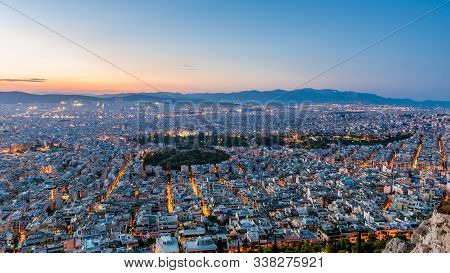 View Over The Athens At Dusk From Lycabettus Hill, Greece.
