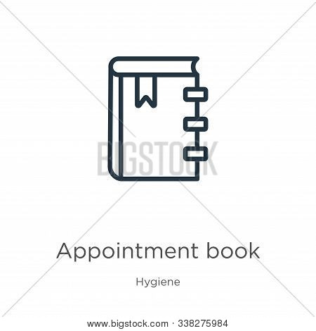 Appointment Book Icon. Thin Linear Appointment Book Outline Icon Isolated On White Background From H