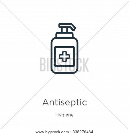 Antiseptic Icon. Thin Linear Antiseptic Outline Icon Isolated On White Background From Hygiene Colle