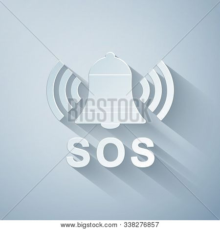 Paper Cut Alarm Bell And Sos Lettering Icon Isolated On Grey Background. Warning Bell, Help Sign. Em