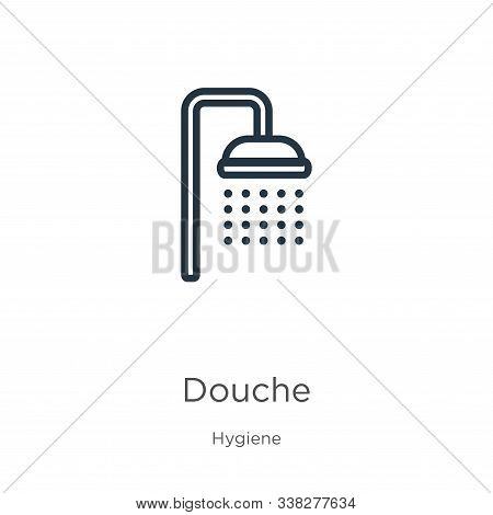 Douche Icon. Thin Linear Douche Outline Icon Isolated On White Background From Hygiene Collection. L