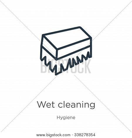 Wet Cleaning Icon. Thin Linear Wet Cleaning Outline Icon Isolated On White Background From Hygiene C