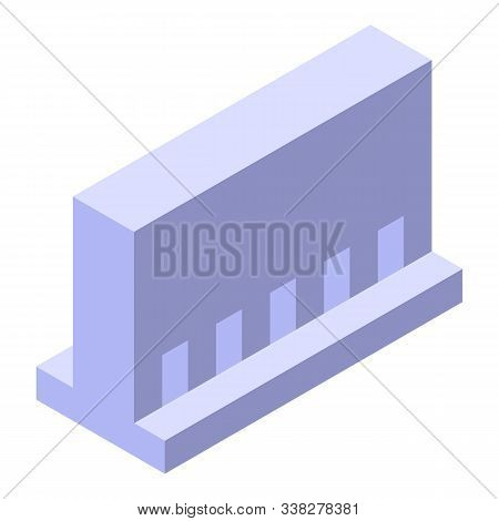 Road Beton Barrier Icon. Isometric Of Road Beton Barrier Vector Icon For Web Design Isolated On Whit