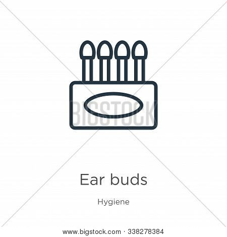 Ear Buds Icon. Thin Linear Ear Buds Outline Icon Isolated On White Background From Hygiene Collectio