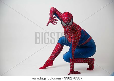 1 December 2019. Israel, Tel Aviv. Spider-man Posing On White Background