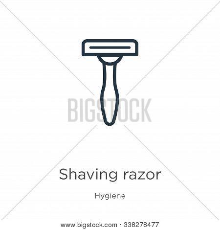 Shaving Razor Icon. Thin Linear Shaving Razor Outline Icon Isolated On White Background From Hygiene