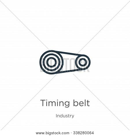 Timing Belt Icon. Thin Linear Timing Belt Outline Icon Isolated On White Background From Industry Co