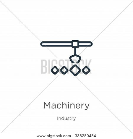 Machinery Icon. Thin Linear Machinery Outline Icon Isolated On White Background From Industry Collec