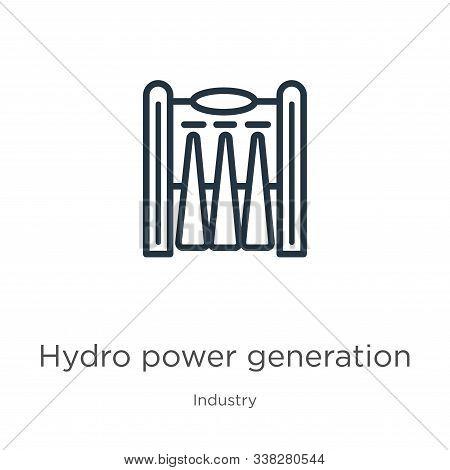 Hydro Power Generation Icon. Thin Linear Hydro Power Generation Outline Icon Isolated On White Backg