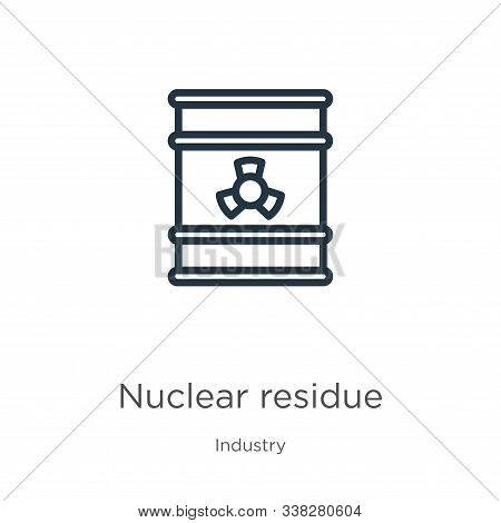 Nuclear Residue Icon. Thin Linear Nuclear Residue Outline Icon Isolated On White Background From Ind