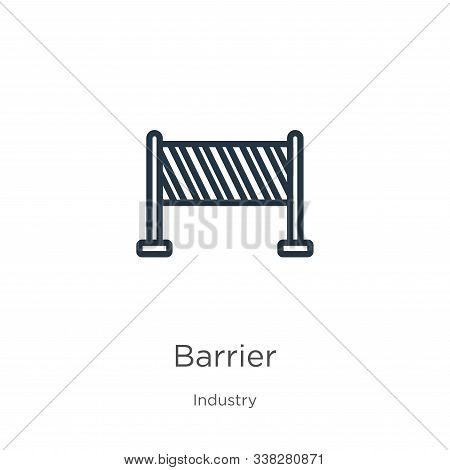 Barrier Icon. Thin Linear Barrier Outline Icon Isolated On White Background From Industry Collection