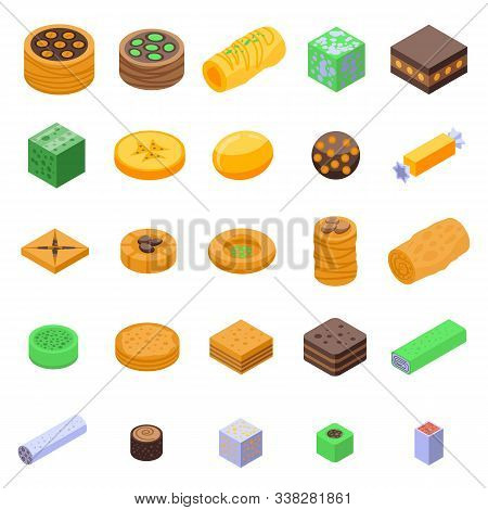 Turkish Sweets Icons Set. Isometric Set Of Turkish Sweets Vector Icons For Web Design Isolated On Wh