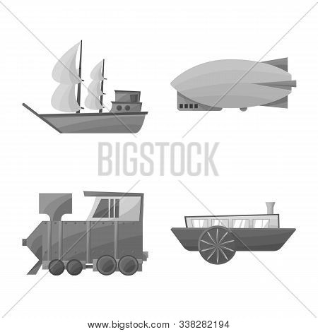 Vector Illustration Of Retro And Trip Symbol. Set Of Retro And Historic Stock Symbol For Web.