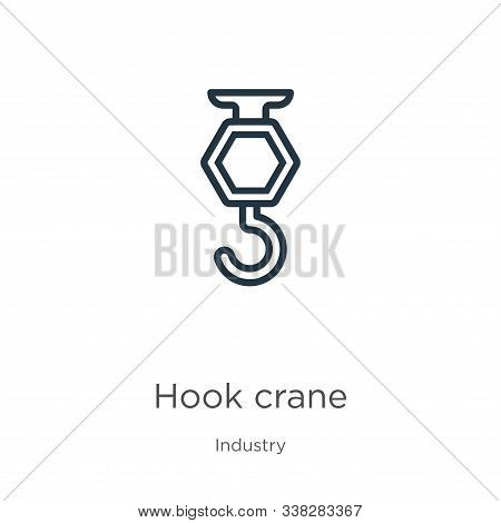 Hook Crane Icon. Thin Linear Hook Crane Outline Icon Isolated On White Background From Industry Coll