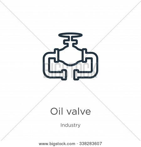 Oil Valve Icon. Thin Linear Oil Valve Outline Icon Isolated On White Background From Industry Collec