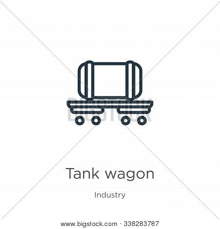 Tank Wagon Icon. Thin Linear Tank Wagon Outline Icon Isolated On White Background From Industry Coll