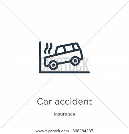 Car Accident Icon. Thin Linear Car Accident Outline Icon Isolated On White Background From Insurance