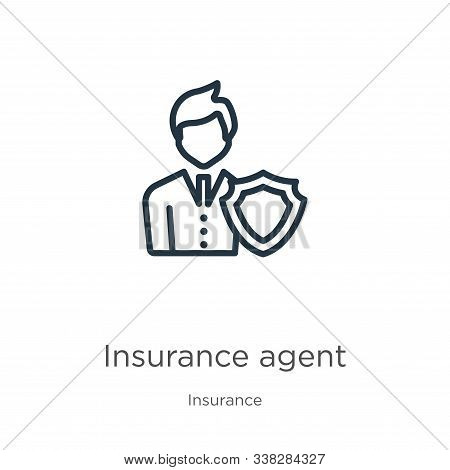 Insurance Agent Icon. Thin Linear Insurance Agent Outline Icon Isolated On White Background From Ins