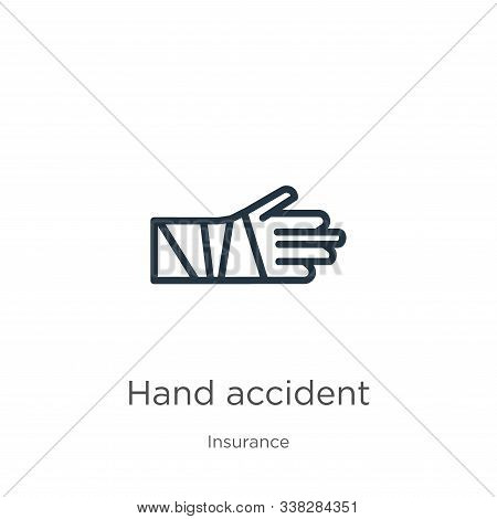 Hand Accident Icon. Thin Linear Hand Accident Outline Icon Isolated On White Background From Insuran