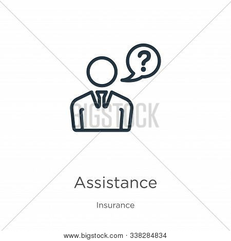 Assistance Icon. Thin Linear Assistance Outline Icon Isolated On White Background From Insurance Col