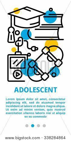 Adolescent Banner. Outline Illustration Of Adolescent Vector Banner For Web Design