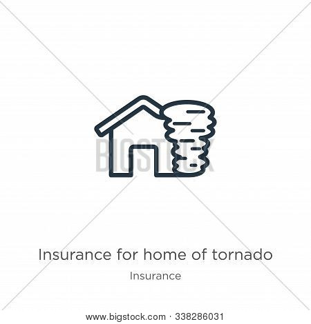Insurance For Home Of Tornado Icon. Thin Linear Insurance For Home Of Tornado Outline Icon Isolated