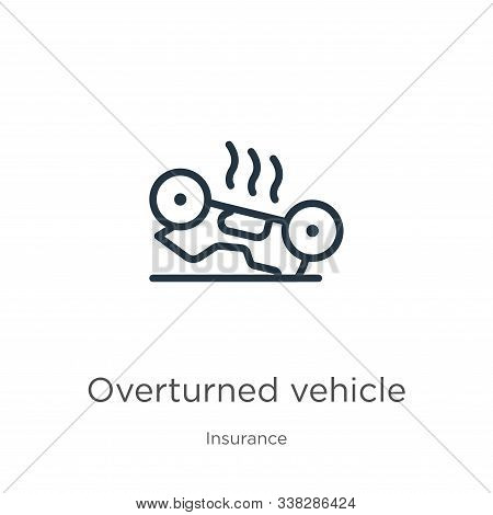 Overturned Vehicle Icon. Thin Linear Overturned Vehicle Outline Icon Isolated On White Background Fr