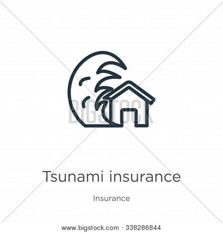 Tsunami Insurance Icon. Thin Linear Tsunami Insurance Outline Icon Isolated On White Background From