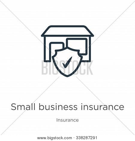Small Business Insurance Icon. Thin Linear Small Business Insurance Outline Icon Isolated On White B